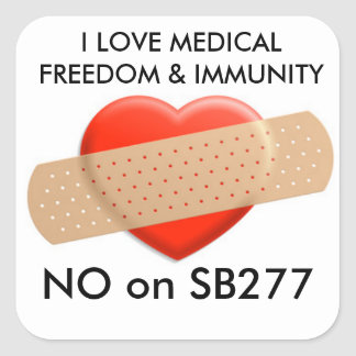 NO on SB277 bandaid sticker