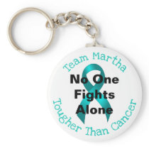 No One Fights Alone - Ovarian Cancer Keychain