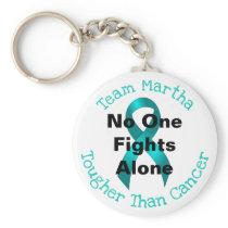 No One Fights Alone - Ovarian Cancer Keychain