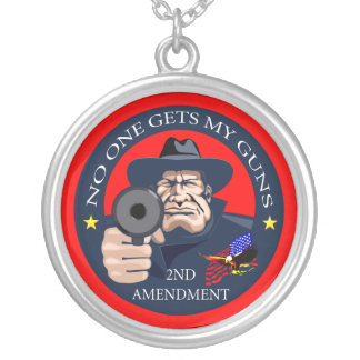 No One Gets My Guns 1 Round Pendant Necklace