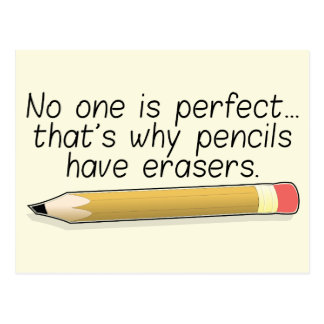 'No one is perfect' quote postcard