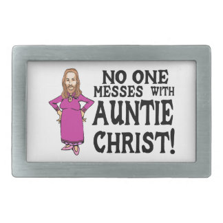 No One Messes With Auntie Christ Rectangular Belt Buckle