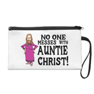 No One Messes With Auntie Christ Wristlet Purse