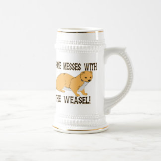No One Messes With The Weasel Beer Stein