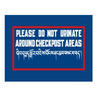 No orine alrededor de Checkposts, muestra, Bhután Postal