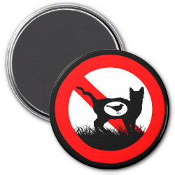 Round Magnet with No Outdoor Cats design