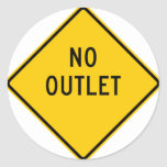 No Outlet Highway Sign Classic Round Sticker