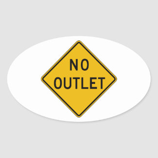 No Outlet, Traffic Warning Sign, USA Oval Sticker