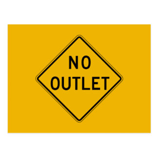 No Outlet, Traffic Warning Sign, USA Postcard