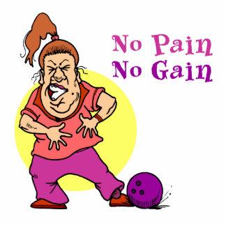 no pain no gain funny bowling design standing photo sculpture