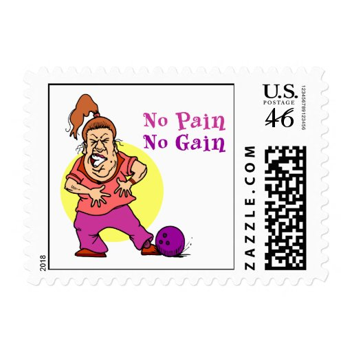 Pain Gain Funny Bowling Design Postage Stamp