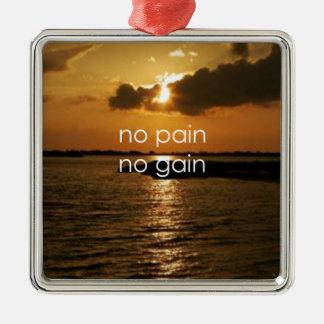 No Pain, No Gain.... Square Metal Christmas Ornament