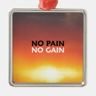 No Pain No Gain Square Metal Christmas Ornament