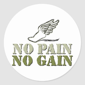 No Pain No Gain - Running Classic Round Sticker