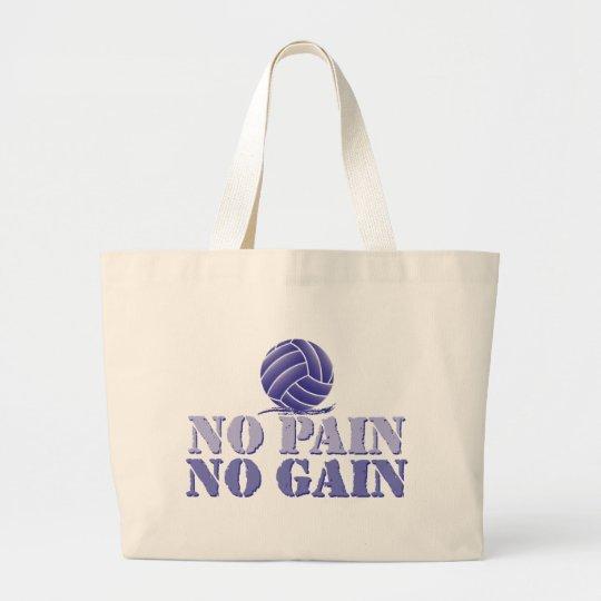 No Pain No Gain Volleyball Large Tote Bag