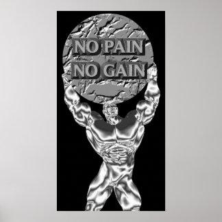No Pain No Gain Weightlifting Poster