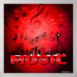 No pare el fondo del rojo de la música impresiones
