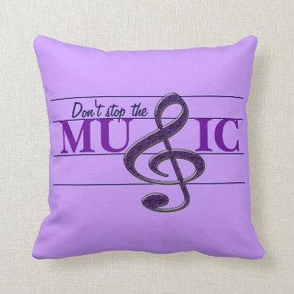 No pare la almohada decorativa púrpura de la músic