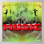 No pare la música (el fondo verde de la tela) poster