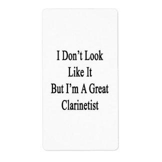 No parezco él sino que soy gran Clarinetist Etiqueta De Envío