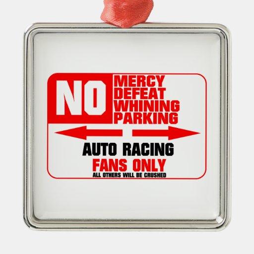 No Parking Auto Racing Sign Square Metal Christmas Ornament