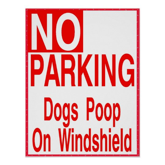 No Parking, Dogs Poop On Windshield Poster