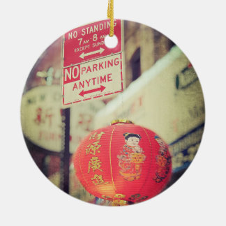 No Parking Grungy Chinese Lantern in Chinatown NYC Ornament