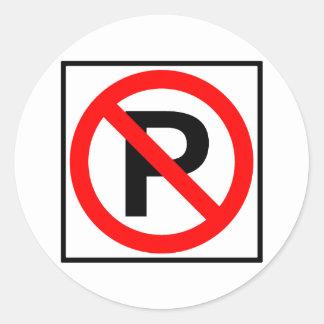 No Parking Highway Sign Round Sticker