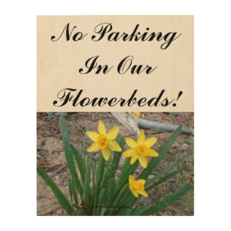 No Parking In Our Flowerbeds! Wood Print