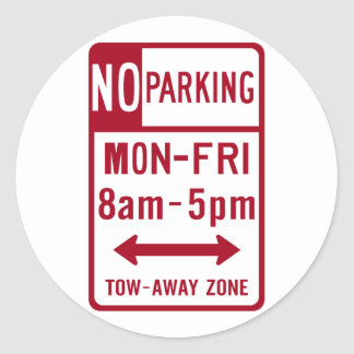 No Parking M-F 8-5 Road Sign Classic Round Sticker
