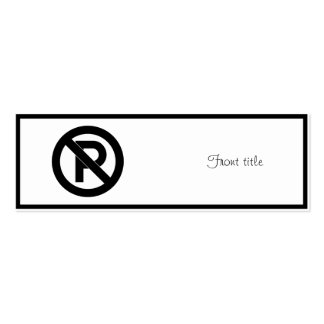 No Parking Symbol Double-Sided Mini Business Cards (Pack Of 20)