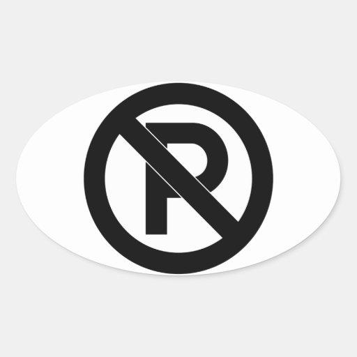No Parking Symbol Oval Sticker