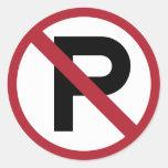No Parking symbol sign Round Sticker