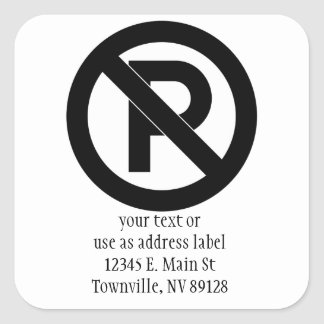 No Parking Symbol Square Sticker