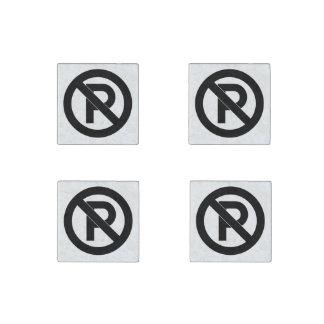 No Parking Symbol Stone Magnet