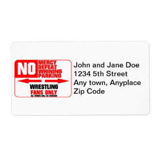 No Parking Wrestling Sign Label