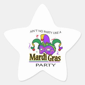NO PARTY LIKE MARDI GRAS STAR STICKER