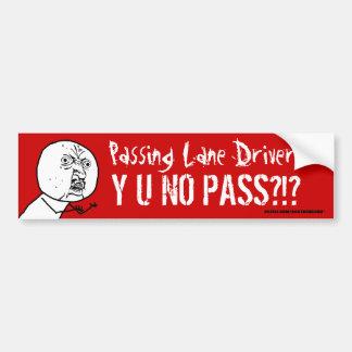 No pasando conductor Y U del carril a NINGUNA pega Etiqueta De Parachoque