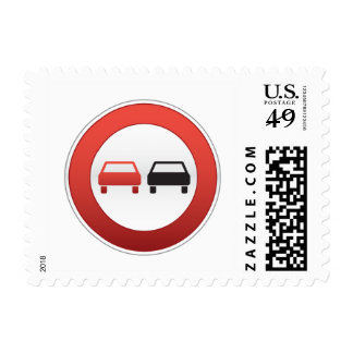 No passing road sign postage