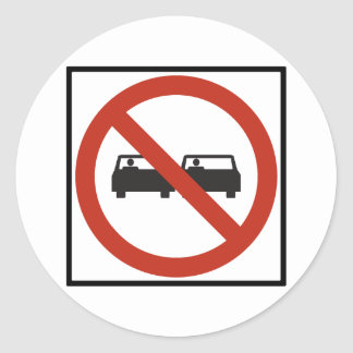 No Passing Zone Highway Sign Classic Round Sticker