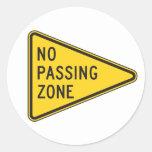 No Passing Zone Stickers Round Sticker
