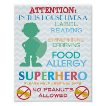 No Peanuts Allowed Superhero Boy Sign for Home