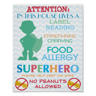 No Peanuts Allowed Superhero Boy Sign for Home Poster