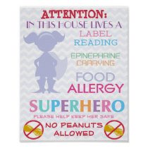 No Peanuts Allowed Superhero Girl Sign for Home