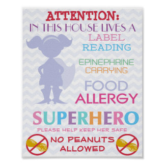No Peanuts Allowed Superhero Girl Sign for Home Poster