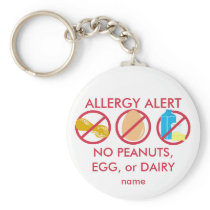 No Peanuts Egg or Dairy Allergy Alert Keychain
