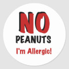 NO Peanuts I'm Allergic Classic Round Sticker