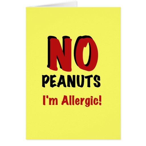 NO Peanuts I'm Allergic Greeting Card
