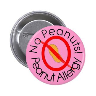 NO PEANUTS! Peanut Allergy Pin in Pink