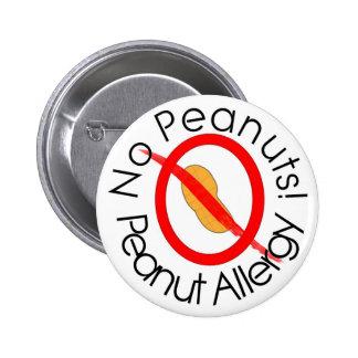 No Peanuts! Peanut Allergy Pin in White